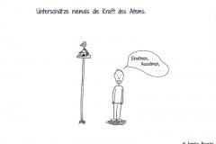 """Comicfigur mit der Sprechblase """"Einatmen, Ausatmen"""" - Copyright: Annika Baacke"""