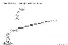 Comicfigur beim Versuch zu meditieren - Copyright: Annika Baacke