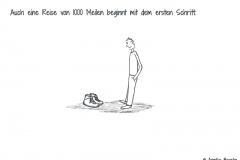 Comicfigur guckt auf Wanderstiefel hinab - Copyright: Annika Baacke