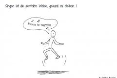 """Comicfigur tanzt und singt """"Because I'm happy"""" - Copyright: Annika Baacke"""