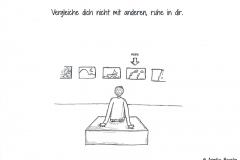 Comicfigur von hinten, die eine Bilderausstellung betrachtet - Copyright: Annika Baacke