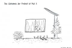 Comicfigur betrachtet zwei Igel, die auf Wanderschaft gehen - Copyright: Annika Baacke