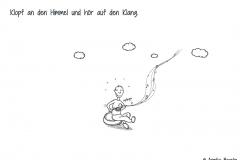 Comicfigur im Schneidersitz mit Klangschale - Copyright: Annika Baacke