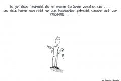 Comicfigur mit Teebeutel und Zeichenstift in der Hand - Copyright: Annika Baacke