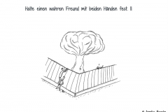 Zwei Comicfiguren, die in Räuberleiter an einem Zaun lehnen - Copyright: Annika Baacke