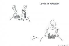 Zwei Comicfiguren, die aus Bausteinen gemeinsam ein Gebäude bauen - Copyright: Annika Baacke