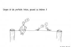 Pfeifende Comicfigur, daneben zwei singende Vögel - Copyright: Annika Baacke