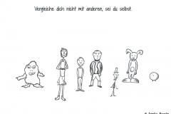 Sieben verschiedene Comiccharaktere nebeneinander - Copyright: Annika Baacke