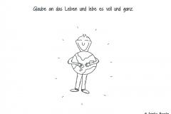 Comicfigur, die freudig eine Weltkugel umarmt - Copyright: Annika Baacke