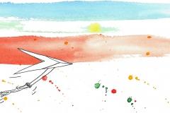 Comicfigur fliegt mit Drachen vor buntem Horizont - Copyright: Annika Baacke