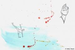 Comicfigur vor Aquarellhintergrund in Yogahaltung Trikonasana - Copyright: Annika Baacke