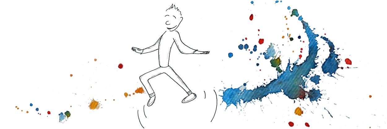Comicfigur tanzend auf bunten Aquarellklecksen - Copyright: Annika Baacke