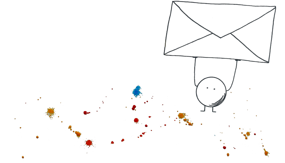 Kreisrunde Comicfigur mit Briefumschlag auf bunten Farbklecksen - Quelle: Annika Baacke