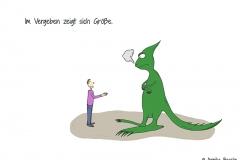 Comicfigur, die einem beleidigten Dinosaurier die Hand reicht - Copyright: Annika Baacke