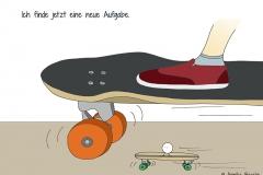 Zeichnung vom Teil eines Skateboards mit Fuß darauf, darunter ein kleines weißes kreisrundes Wesen ebenfalls auf einem Skateboard - Copyright: Annika Baacke