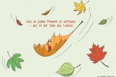 Zeichnung von bunten heruntersegelnden Blättern, in der Mitte eine kleine Comicfigur auf einem fliegenden Blatt - Copyright: Annika Baacke