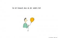 Comicfigur, die einen Luftballon mit Gesicht hält und anguckt - Copyright: Annika Baacke