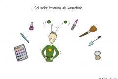 Comicfigur verkleidet als Marsmensch, drum herum Schminke und Makeup - Copyright: Annika Baacke