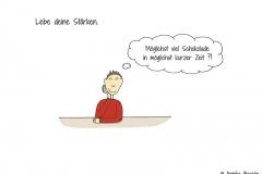 """Comicfigur mit der Denkblase """"Möglichst viel Schokolade in möglichst kurzer Zeit?!"""" - Copyright: Annika Baacke"""