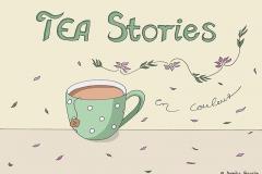 """Zeichnung einer grünen Teetasse, darüber und daneben der Titel """"TEA Stories en couleur"""", verziert mit Blüten und Blättern - Copyright: Annika Baacke"""