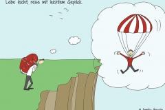 Comicfigur mit schwerem Rucksack träumt vom Fallschirmsprung