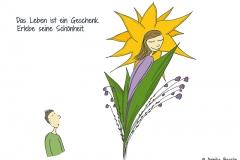 Comicfigur, die eine Blume bzw. Frau bewundert - Copyright: Annika Baacke