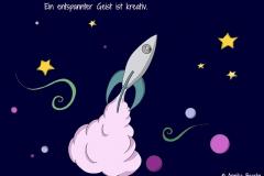 Zeichnung von einer Rakete, die ins Universum startet - Copyright: Annika Baacke