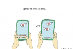 Zeichnung von zwei Händen, die ein Smartphone halten und ein Herz verschicken bzw. erhalten - Copyright: Annika Baacke