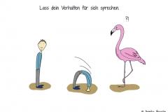 Comicfigur, die den Kopf in den Sand steckt, daneben ein Flamingo mit Fragezeichen über dem Kopf - Copyright: Annika Baacke