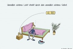 Comicfigur, die gähnend auf der Bettkante sitzt, der Wecker zeigt 6:30 Uhr - Copyright: Annika Baacke
