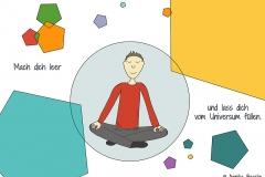 Comicfigur in meditativer Haltung, drum herum bunte Fünfecke - Copyright: Annika Baacke