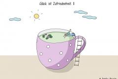 Kleine Comicfigur sitzt am Rand einer Teetasse, die wie ein Swimming pool oder Teich aussieht - Copyright: Annika Baacke