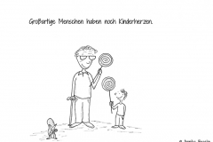 Comic einer alten Frau mit Kind, die beide erfreut einen Lutscher in der Hand halten - Copyright: Annika Baacke
