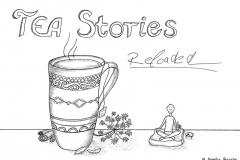 """Comic von einer Teetasse, darüber der Titel """"TEA Stories Reloaded"""", daneben eine kleine Comicfigur im Schneidersitz - Copyright: Annika Baacke"""