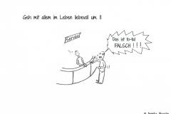 """Comic von einem unfreundlichen Kunden, der den Servicemitarbeiter mit den Worten """"Das ist to-tal FASCH!!!"""" anfährt - Copyright: Annika Baacke"""