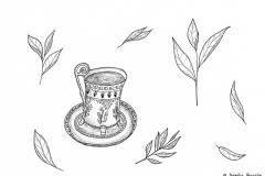 Illustration einer verzierten Teetasse umgeben von Teeblättern - Copyright: Annika Baacke