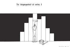 Comicfigur, die eine schwarze Wand mit weißer Farbe streicht - Copyright: Annika Baacke