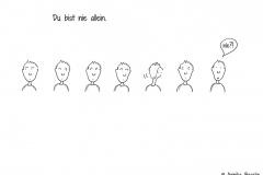 Comicfigur, die sich nach allen Seiten umguckt, um zu sehen ob sie allein ist - Copyright: Annika Baacke