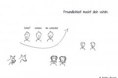 Comicfiguren, die auf der einen Seite unglücklich oder ärgerlich aussehen und auf der anderen Seite lächeln - Copyright: Annika Baacke