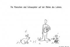 Comicfigur im Hasenkostüm und ein Hase, der verständnislos guckt - Copyright: Annika Baacke