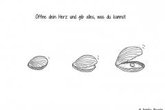 Illustration einer Muschel, die sich langsam öffnet und eine Perle zum Vorschein bringt - Copyright: Annika Baacke