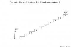 Comicfigur, die am Fuße einer Treppe steht und an Stufe 10 denkt, wo ein Pokal steht - Copyright: Annika Baacke