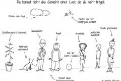 Illustration von Menschen, Tieren, Pflanzen und Wolken mit ihren verschiedenen Schicksalen - Copyright: Annika Baacke