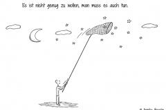 Comicfigur, die unter einem Sternenhimmel mit einem Kescher die Sterne einfängt - Copyright: Annika Baacke