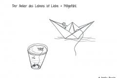 Comic von einem Papierschiff, das sich auf einem Wasserglas befindet - Copyright: Annika Baacke