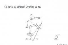 """Comicfigur, die ängstlich und mutig zugleich über einen Strich auf dem Boden steigt, mit dem Verweis """"Hier"""" und """"Da"""" - Copyright: Annika Baacke"""