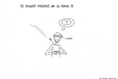 Comicfigur, die von Amors Pfeil getroffen wurde, eine rosarote Brille trägt und an Wolke 7 denkt - Copyright: Annika Baacke