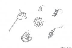 Zeichnung von Holzfiguren für den Weihnachtsbaumschmuck - Copyright: Annika Baacke