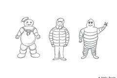 Comicfigur mit dicker Winterjacke neben Marshmallow Man und dem Michelin Männchen - Copyright: Annika Baacke
