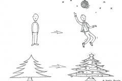 Comicfigur und Weihnachtsbaum im Weihnachtsoutfit - Copyright: Annika Baacke